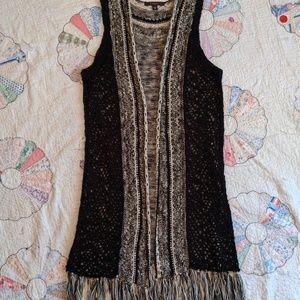 Fever Crochet Black/White Fringed Cardigan